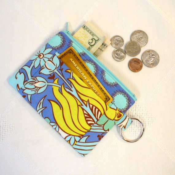 CLEARANCE SALE! Amy Butler Fabric Wallet Change Purse Temple Tulips Azure Blue Yellow Zipper Coin Purse Card Slot Key Ring Fob Soul Blossom
