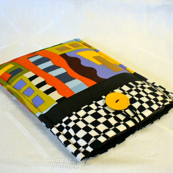 iPad Mini NOOK Case Ebook Case Nook Color Cover Padded NOOK Sleeve Ready to Ship Black White Graphic Fabric  Unisex