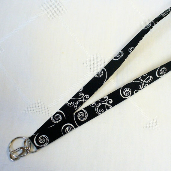 Black and White Mod Swirl Fabric Lanyard Breakaway Lanyard ID Badge Holder ID Clip Key Ring Fob MTO