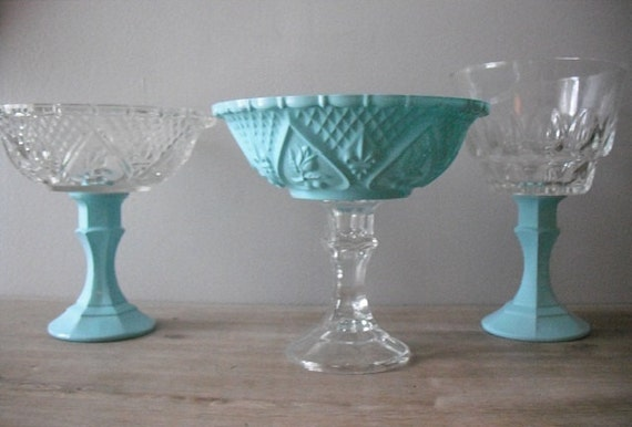 3 upcycled Tiffany blue Wedding candy buffet dishes .. Pedestal candy bar dishes