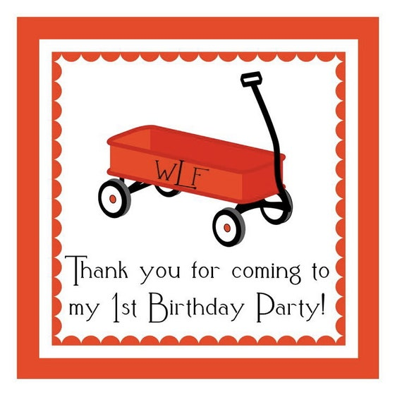 Little Red Wagon Sticker, Enclosure Card, Book Plate, or Address Label Set - 24