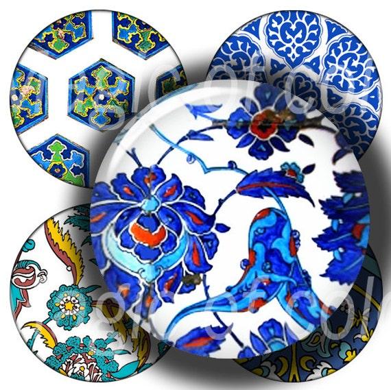 Blue Turkish  Ornament  - 63  1 Inch Circle JPG images - Digital  Collage Sheet