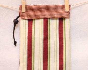 Fabric Gift Bag, Project Bag, Checks and Stripes, Small