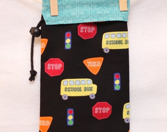 Gift Wrap, School Bus, Blue and Black, Project Bag, FREE US SHIPPING