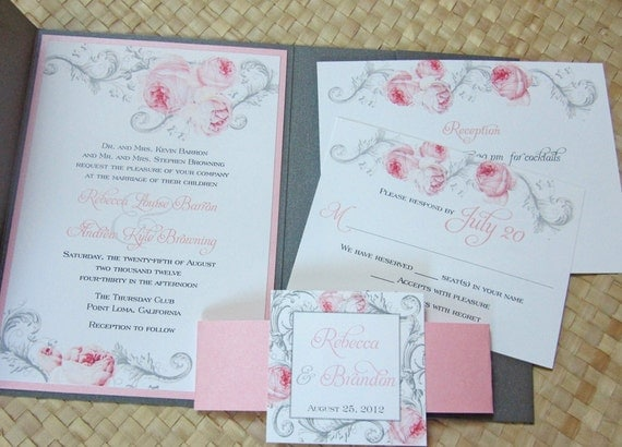Pocketfold Wedding Invitation in Pink and Gray