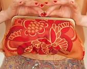 Carnelian garden - Luxury jacquard medium Lili clutch - LAST ONE