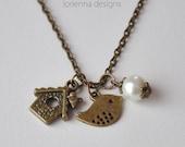 little bird necklace - pearl necklace - bird house necklace - bronze bird necklace - closing shop, please min. order 10 usd