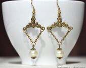 earrings - pearl earrings - bronze earrings - vintage style - victorian style - closing shop, please min. order 10 usd.