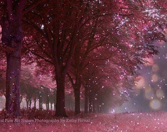Nature Photography, Sparkling Twinkling Nature Prints, Twinkling Fairy Lights Pink Mauve Woodlands Trees, Dreamy Fantasy Nature Woodlands