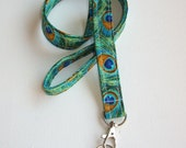 Lanyard  ID Badge Holder - Peacock Blue - Swivel Lobster clasp and key ring