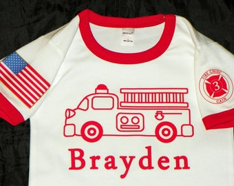 Childrens Clothing. Vintage Firetruck Birthday Shirt With FD Patch and American Flag on Sleeves. Childs Age In FD Patch.