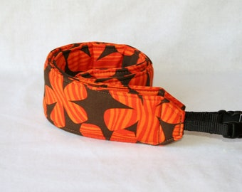 Ready to ship monogramming not available Camera Strap for DSL Camera Orange and Brown Floral Print