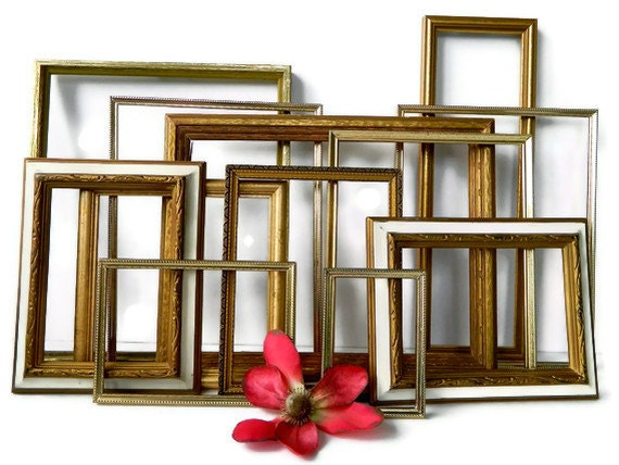 Vintage Hollywood Regency Gold Wall Frames Instant Gallery Collection of 12 Luxe Home Decor & Wedding Decoration