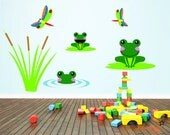 Frog and Dragonfly Pond Theme Wall Decals