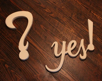 the big question --  yes ENGAGEMENT - wedding photo prop decor - wood words cutouts (W-047)