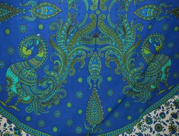 Hippie East Indian Tapestry Fabric Blue Peacock By