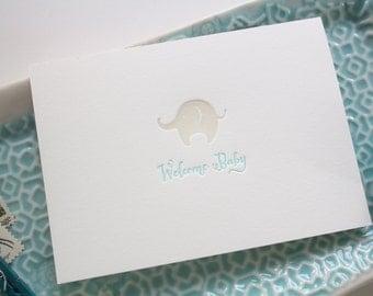 Welcome Baby Letterpress Greeting Card - Elephant Aqua