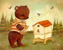 Little Bear Beekeeper Print 8x8 - Bear, Children's Art, Bees, Brown, Beehive, Honey, Nursery, Red, Cream, Baby, Cute, Kids Art, Striped
