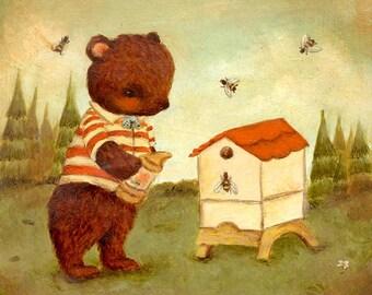 Art for Kids - Little Bear Beekeeper Print 10x10 / 11x11 - Nursery Art, Children's Art, Baby Art, Cute, Kids Art, Striped, Bee, Bear, Honey