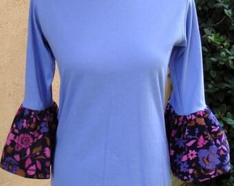 Women's S/M Periwinkle Autumn Flutter T-Shirt