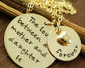 The Love Between a Mother and Daughter is Forever - Hand Stamped Necklace - Mommy Necklace - Mother and  Daughter Necklace