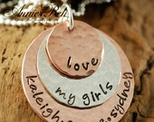 Hand Stamped  Necklace - Personalized Necklace - Mommy Necklace -