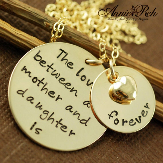 The Love Between a Mother and Daughter is Forever, Hand Stamped Necklace, Mommy Necklace, Mother Necklace, Gift for Mom, Mothers Day Gift