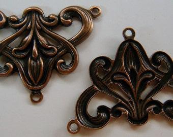 Art Nouveau Connectors in Antiqued Copper 2 Pieces AS R52 12