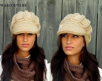 Handmade Cap Newsboy Hat Crochet Cap Womens Hat Chunky hat Knit Brim Cap Wheat Cream OR Choose Your Color