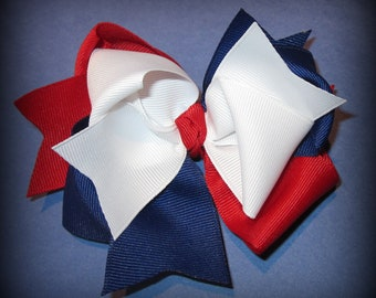 Patriotic American m2mg Hair Bow for Gymboree Girls Triple Layers and Loops 4th of July Red White and Blue Country Patriot Big 5 Inch