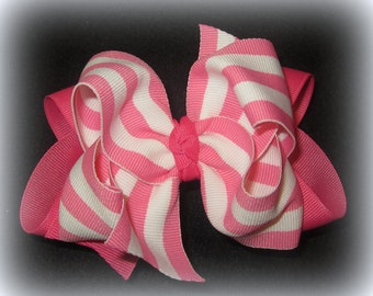 Pink Striped Hair Bow, Double Layered Bows, Boutique Hairbow, Toddler Hairbow, Striped Bows, 5 Inch bows, boutique hairbow, baby hairbow,