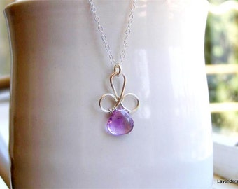 Pink Amethyst Necklace , Silver  Necklace , February Birthstone , Wire Wrapped Pendant Necklace