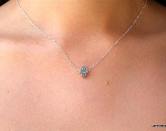 Hamsa Necklace  Tiny Silver Double sided Hamsa , Hand Amulet Necklace Hamsa Jewelry , Good Luck Charm , Eveil Eye , Sterling Silver Necklace