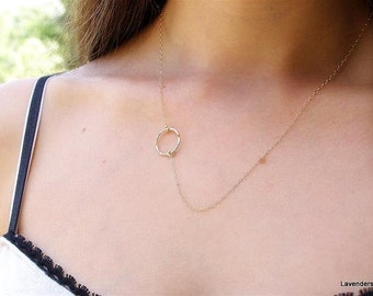 Gold Circle Necklace , Gold Necklace , Eternal Necklace , Sideways Circle Necklace , Gold Fill , Modern Minimalist Jewelry