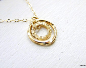 Double Circle Necklace ,  Circle Necklace , Gold Necklace , Gold Fill , Eternal Necklace , Simple Everyday Jewelry