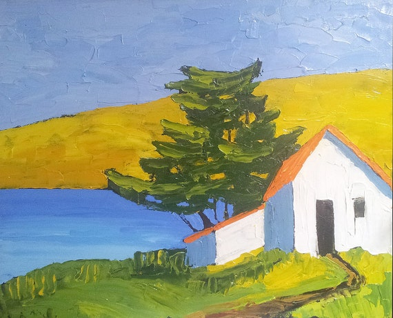 CALIFORNIA Pacific Seaside Cottage MONTEREY BAY Impressionist Landscape Lynne French o/c Art 16x20