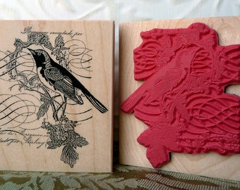 Story Bird Collage rubber stamp from oldislandstamps