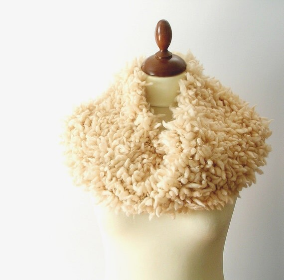 Beige Cowl Tube Scarf  Neutral  Light Brown