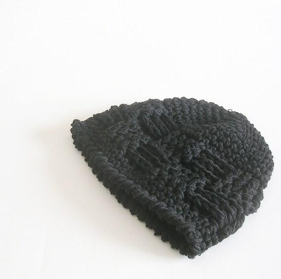 Black Beanie Crochet Hat Unisex Beanie Man Woman Teens