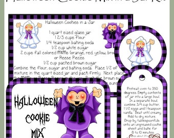 Make your own Halloween Cookie Mix in a Jar - Labels, Tag and Recipe with Bonus Label - Digital Printable Kit - Immediate Download