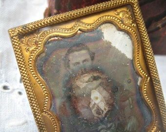 Antique tintype of young man, ornate gold frame tintype, lovely antique, ghostly effect on glass, altered art mixed media supply