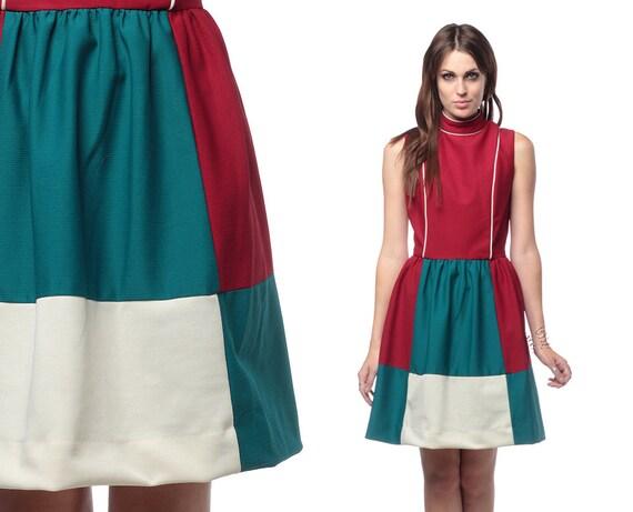 Mod Mini Dress 60s Color Block 1960s Burgundy Teal White High Waist Sixties Vintage Sleeveless Space Age High Neck Dress Medium Large M L
