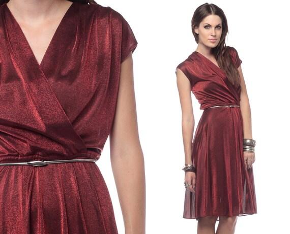 70s Drape Dress Copper Red Shimmery 1970s Wrap Deep V Neck Vintage Sheer Party Grecian Disco Knee Length High Waist Cap Sleeve Medium Large