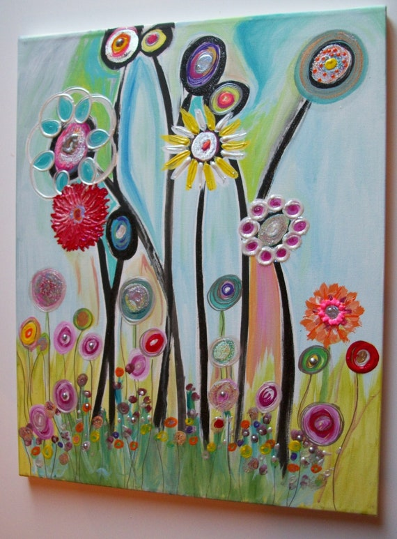 Childrens Wall Decor Canvas : Childrens canvas wall art abstract acrylic painting on lx w
