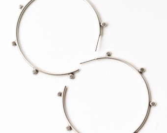 "Edgy sterling silver hoop earrings in a contemporary design and dark matte finish embellished with silver balls - ""Compass Earrings"""