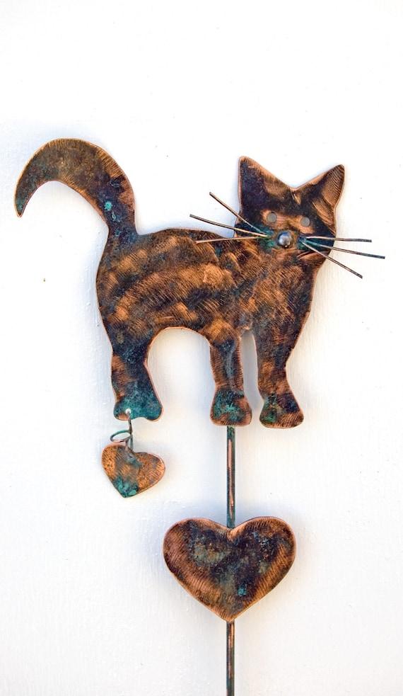 Cat kitty feline yard art metal copper plant stake lawn for Cat yard art