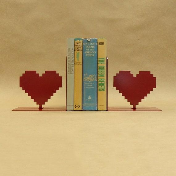 8 Bit Heart Metal Art Bookends - Free USA Shipping
