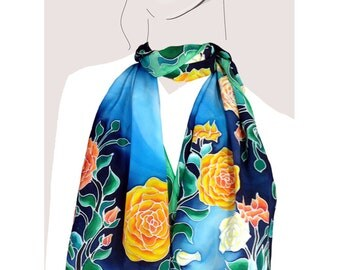 Midnight Blue and Yellow Roses silk scarf, hand painted:  Midnight Rose Garden