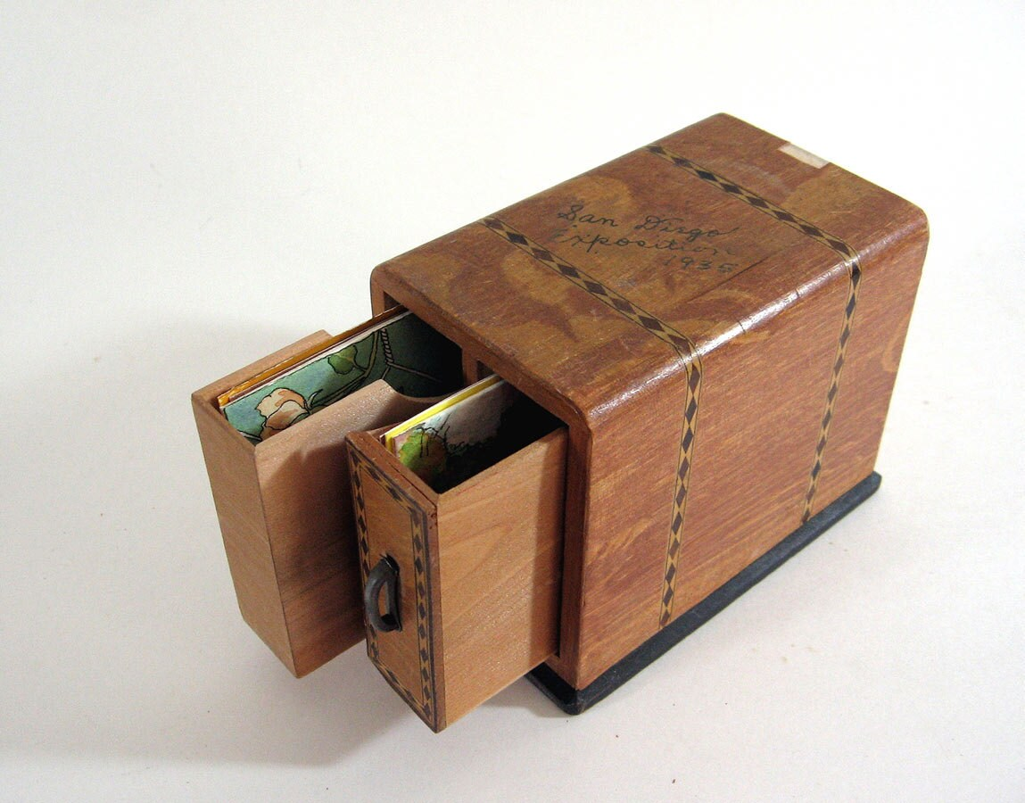 playing card box drawers two deck storage aceo card easel