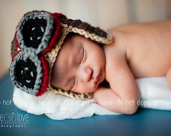 Baby Aviator Hat, Baby Boy Hats, Brown Aviator Hat with goggles, Newborn to 12 mnths, Crochet Baby hats